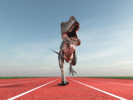 Giant prehistoric monster of dinosaur training on a red running track. This is a 3d render illustration