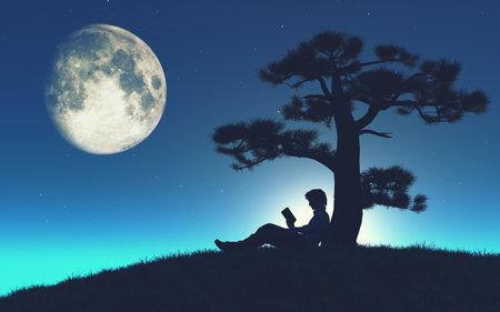 Sillouthe van een jonge man het lezen van een boek onder een boom in het maanlicht. Dit is een 3d render illustratie