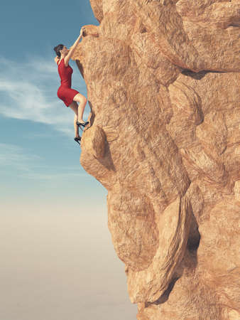 Young women in red dress and high heels climbing a mountain. This is a 3d render illustration Stock Photo