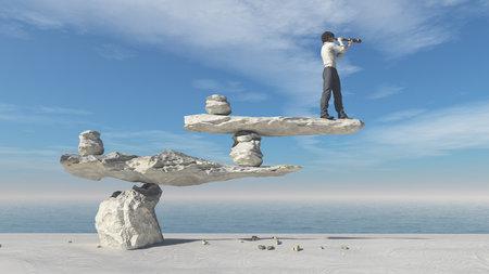Homem novo com os binóculos que sentam-se em pedras no equilíbrio em uma praia. Esta é uma ilustração 3d render Foto de archivo - 66289564