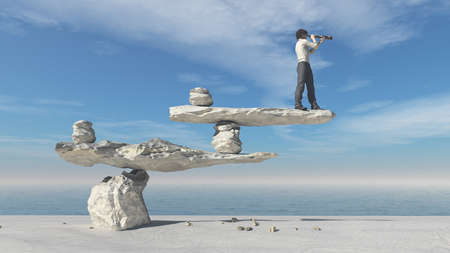 Young man with binoculars sitting on stones in balance on a beach. This is a 3d render illustration   Stock Photo