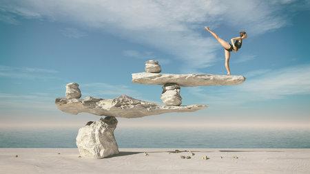 Giovane ginnasta che fa balletto sulle pietre in equilibrio. Questa è una illustrazione di rendering 3d