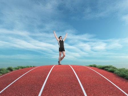 선수 주자 실행 트랙에 하늘에 그의 손을 상승, 승리를 제안합니다. 이것은 3d 렌더링 그림