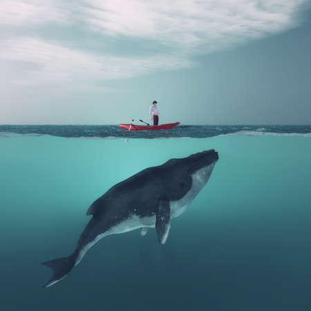 Man in boat floating above a huge whale in the ocean. This is a 3d render illustration Banco de Imagens