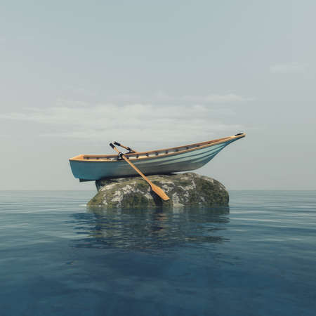 A boat on top of a rock in the middle of the ocean. This is a 3d render illustration