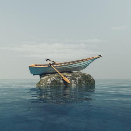 Um barco em cima de uma rocha no meio do oceano. Esta é uma ilustração de renderização 3d