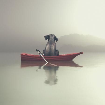Olifant zit in een rode boot door een mistige zee. Dit is een 3d render illustratie Stockfoto