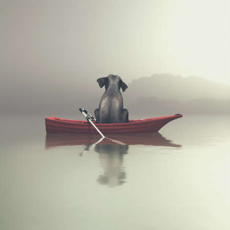 Elephant sitting in a red boat by a foggy sea. This is a 3d render illustration Stock Photo