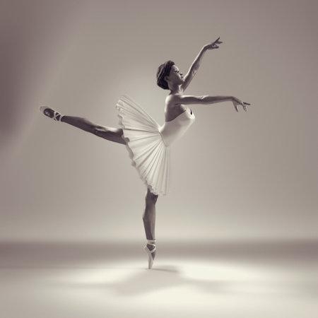 バレエのポーズでバレリーナの肖像画。これは 3 d をレンダリングします。