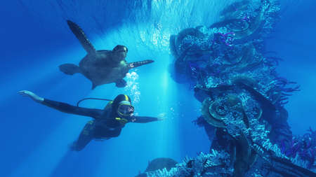Diver and giant turtle swimming near a coral. This is a 3d render illustration