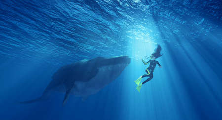 Female diver in danger, near a whale underwater. This is a 3d render illustration Stock Photo