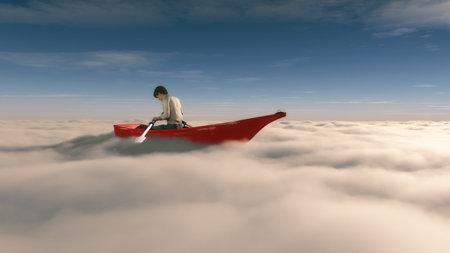 浮かんでいる男は、パドルで赤船に overclouds します。これは 3 d レンダリング図です。