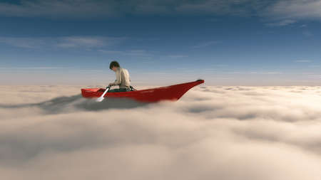 Man floating overclouds in  a red boat with paddle . This is a 3d render illustration