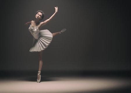Joven y bella bailarina bailando. Esta es una ilustración de render 3d. Foto de archivo - 81314483