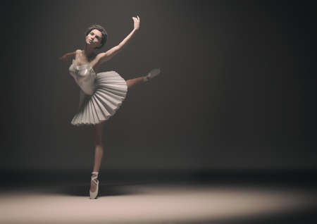 Young and beautiful ballerina dancing . This is a 3d render illustration. Stock Photo