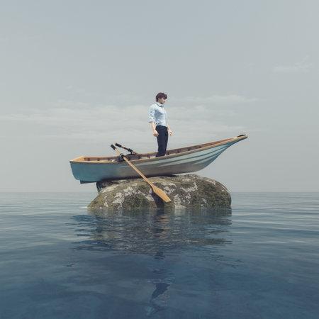 Jonge mens die zich in een boot bevindt die op een steen in het midden van de oceaan wordt geblokkeerd. Dit is een 3d render illustratie