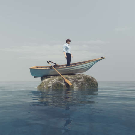Young man standing in a boat blocked on a stone in the middle of the ocean. This is a 3d render illustration