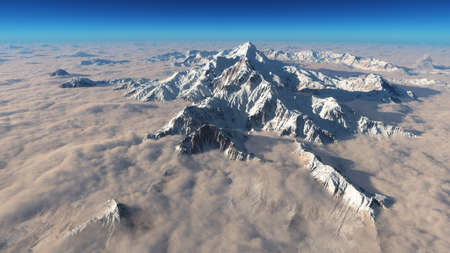 Aerial view of top of snow capped peak shrouded in clouds below. This is a 3d render illustration.