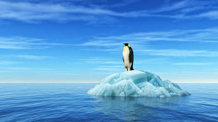 A penguin sits on an iceberg in the middle of the ocean. This is a 3d render illustration Standard-Bild