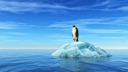 Um pinguim senta-se em um iceberg no meio do oceano. Esta é uma ilustração 3d render Foto de archivo - 81159503