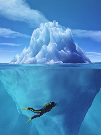 Diver swimming near an iceberg. This is a 3d render illustration. Фото со стока