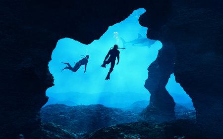 Tieners die dichtbij een klip zwemmen. Dit is een 3d render illustratie. Stockfoto