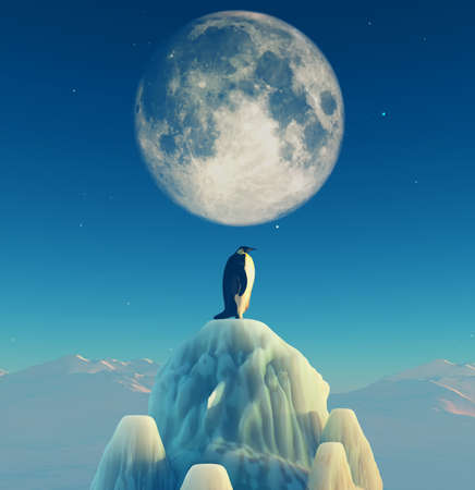 Penguin on the top of the iceberg admiring the moon. This is a 3d render illustration