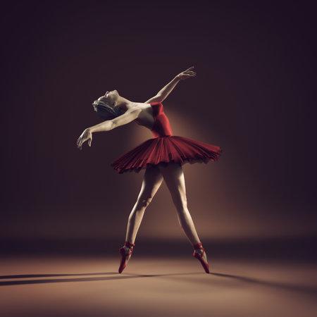Joven y bella bailarina con tutú rojo. Esta es una ilustración de render 3d. Foto de archivo - 81237986