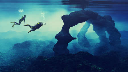Teenagers  swimming near an cliff. This is a 3d render illustration.