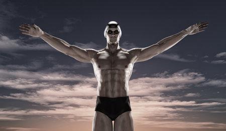 Sportman zwemmen bij zonsondergang. Dit is een 3d render illustratie. Stockfoto