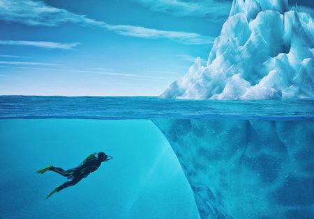 Duiker zwemt in de buurt van een ijsberg. Dit is een 3d render illustratie.