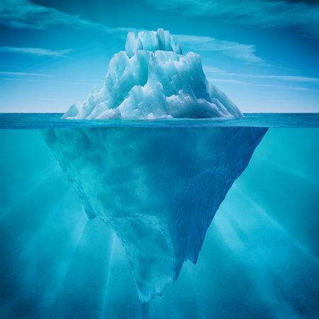 Vue sous-marine d'iceberg avec une belle mer transparente sur fond. Ceci est une illustration de rendu 3d Banque d'images - 81121587
