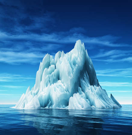 Underwater view of iceberg with beautiful transparent sea on background. This is a 3d render illustration