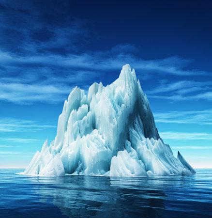 Vue sous-marine d'iceberg avec une belle mer transparente sur fond. Ceci est une illustration de rendu 3d Banque d'images - 81283586