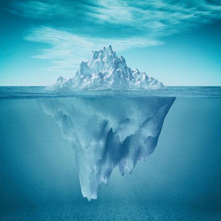 Vista submarina de iceberg con hermoso mar transparente sobre fondo. Esta es una ilustración de procesamiento 3d Foto de archivo - 81237989