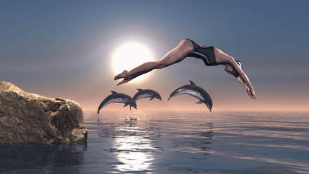Young swimmer take the race with dolphins in sea. This is a 3d render illustration Banco de Imagens