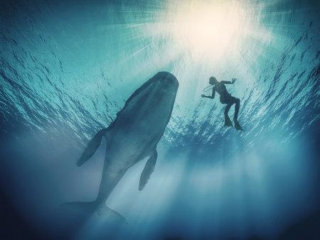 Duikers onderwater. Dit is een 3d render illustratie Stockfoto