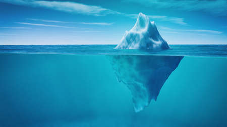 Underwater view of iceberg with beautiful transparent sea on background. This is a 3d render illustration 免版税图像 - 81121586