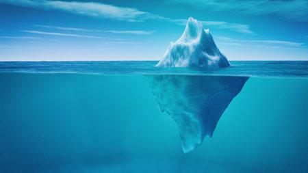 Vue sous-marine de l & # 39 ; iceberg avec belle mer transparente sur fond . ceci est une illustration de rendu 3d Banque d'images - 81121586