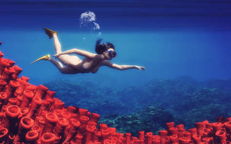 Young women swimming near an corals. This is a 3d render illustration. Banco de Imagens