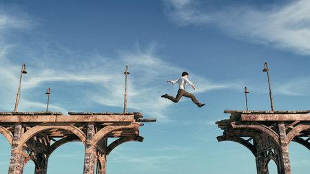 Jonge man springen over de brug. Dit is een 3d render illustratie Stockfoto