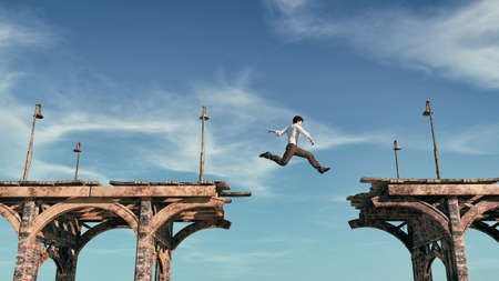 Young man jumping over the bridge. This is a 3d render illustration Stock Photo