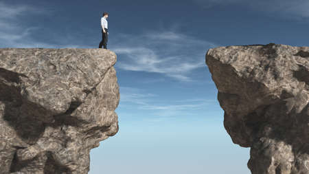 Young man in front of a chasm. This is a 3d render illustration