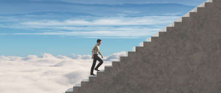 Young man climb on stairs to success. This is a 3d render illustration