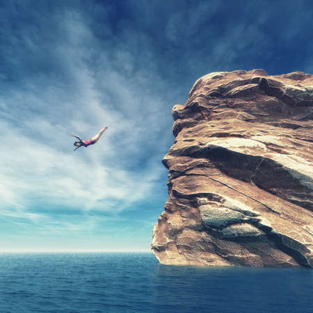 Young women jumping from cliff into sea. This is a 3d render illustration