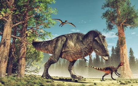 3d rendent le dinosaure. Il s'agit d'une illustration de rendu 3D. Banque d'images - 81264326