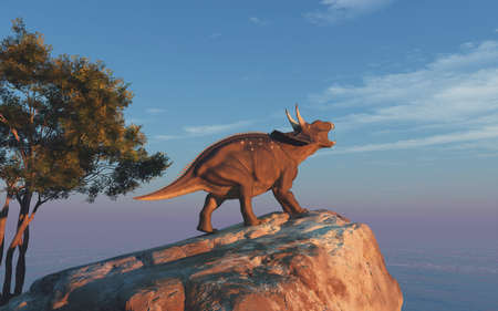 恐竜のトリケラトプス (diceratops)。これは 3 d レンダリング図です。