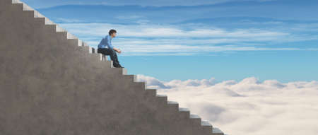 Young man sits on stairs and looks to the sky. This is a 3d render illustration