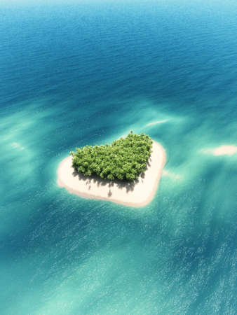 Heart-shaped tropical island in mid-ocean. This is a 3d render illustration. Stock Photo