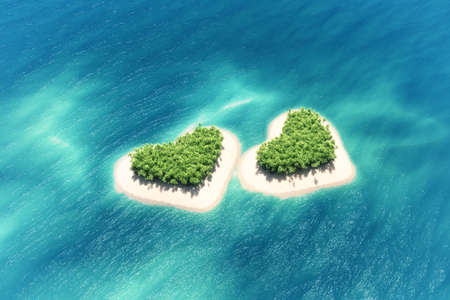 Heart-shaped tropical island in middle of the ocean and a boat going through. This is a 3d render illustration Reklamní fotografie